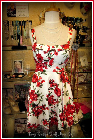 Retro Tie-back red floral print dress (short)