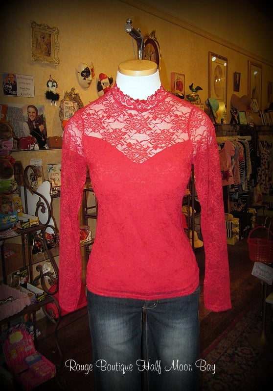 Victorian style red lace One Size stretch top