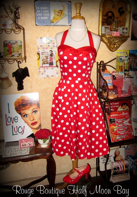 Red and White Polka Dot Halter Hostess Dress