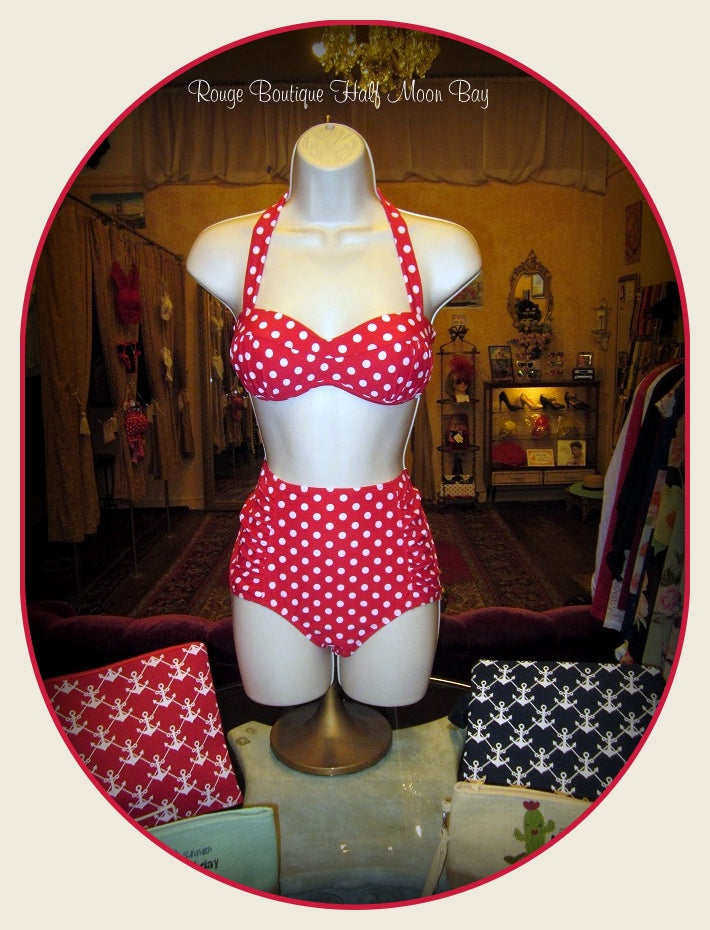 Retro red polka dot Swimsuit