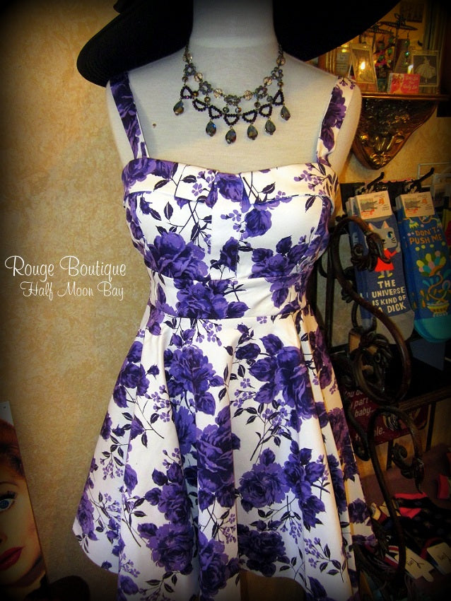 Retro Tie-back purple floral print dress (short)