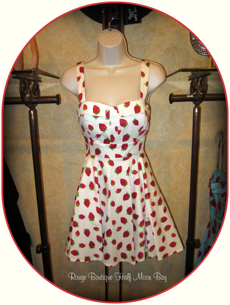 Retro Tie-back strawberry print dress (short)