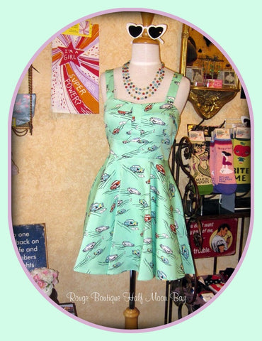 Retro Tie-back classic car print dress (short)
