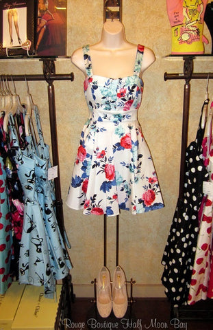 Retro Tie-back floral print dress