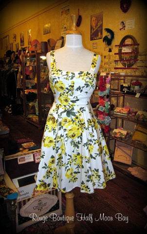 Retro tie-back Floral Hostess dress (yellow)