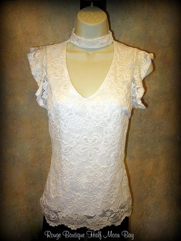 Lace high collar top