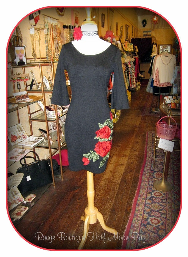 Black Wiggle Dress with 3/4 sleeves
