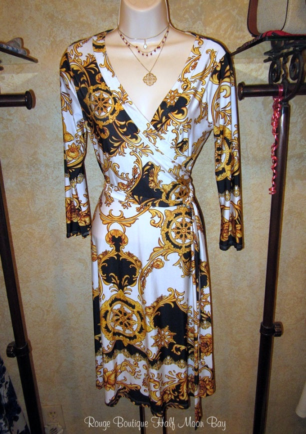 White with gold and black flourishes faux wrap dress