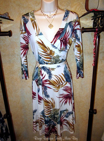White with tropical leaves print faux wrap dress