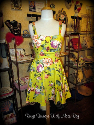 Retro Tie-back floral dress (short)