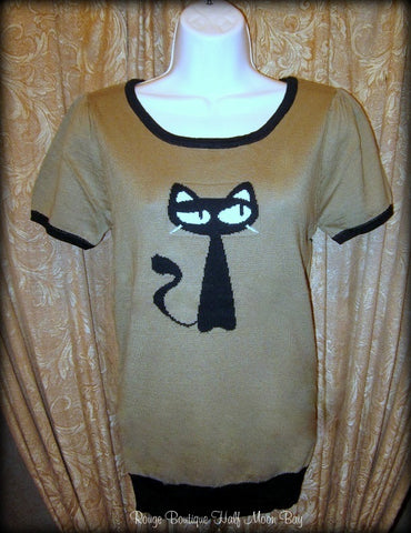 Short sleeve retro cat sweater