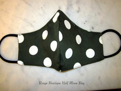 Mask (dark green with white polka dots)