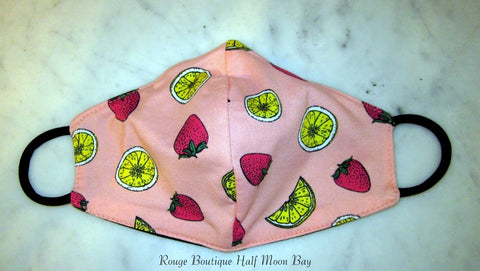 Mask (strawberries and lemons on pink)