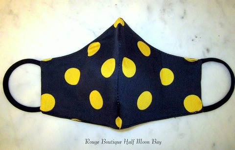 Mask (dark navy with yellow polka dots)
