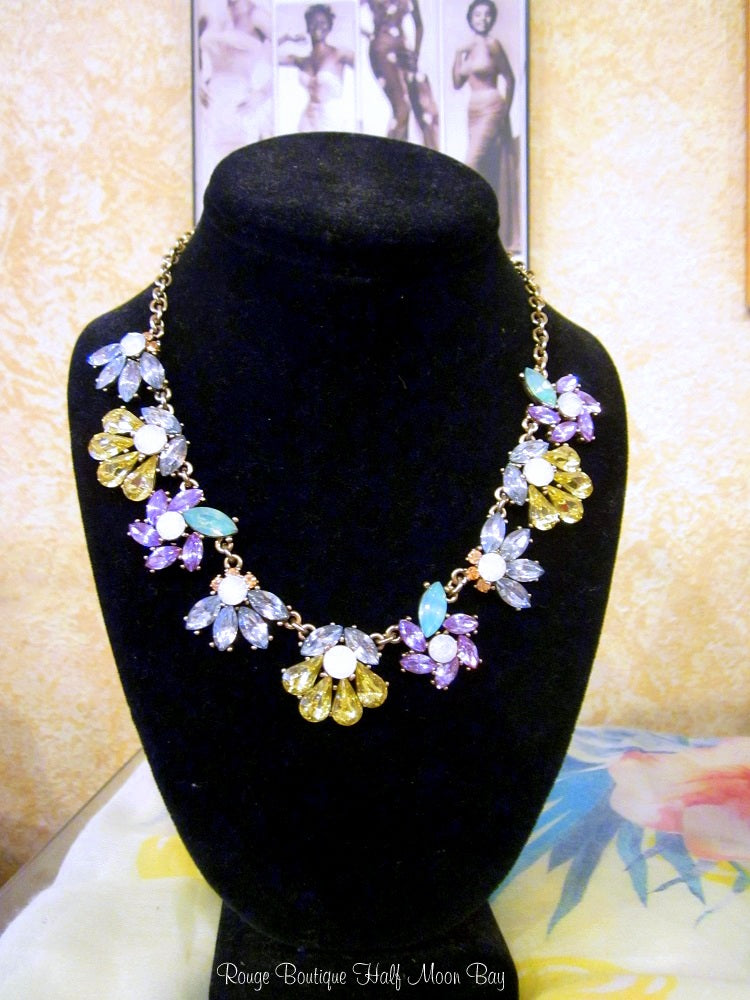 Rhinestone necklace in Spring colors