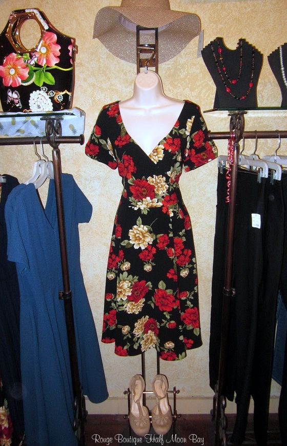 Red rose Hostess Dress with sleeves