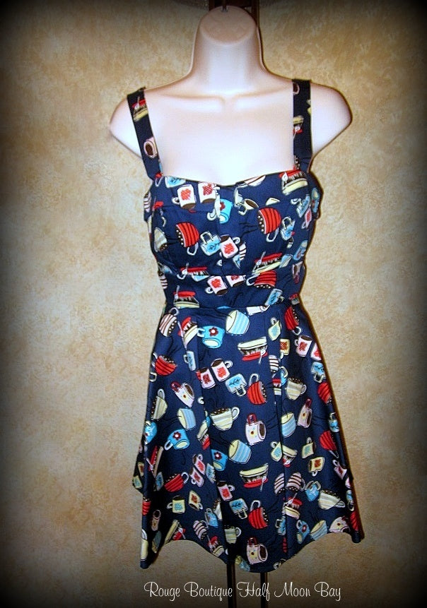 Retro Tie-back coffee cup print dress (short)