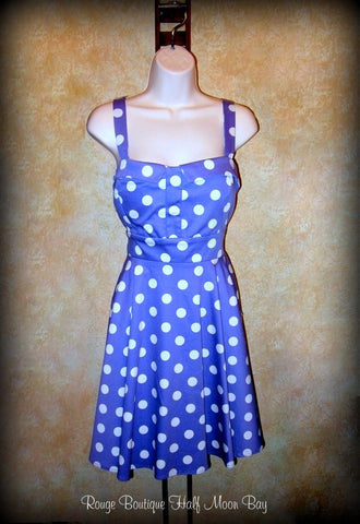 Retro Tie-back purple with white polka dots dress
