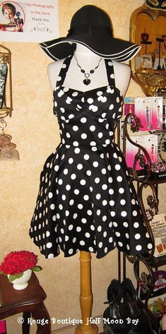 Retro black polka dot halter dress