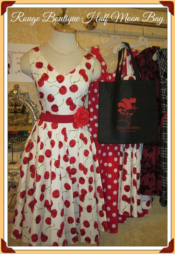 Retro Cherry Print Hostess Dress