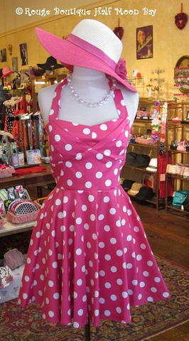Retro pink polka dot halter dress