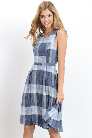 Blue Plaid Open Back Dress