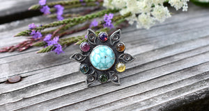 Third Eye Turquoise & Rainbow Wheel of Tourmaline Ring