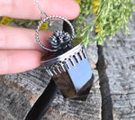Smoky Quartz and Succulent Talisman Necklace