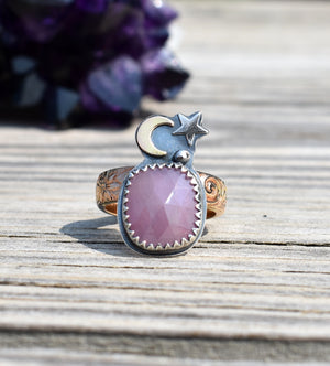 Moon Daughter Pink Sapphire Talisman Ring #1-US Size 7