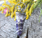 Chevron Amethyst and Unicorn Talisman Necklace