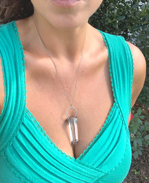 Sand Dollar Quartz Crystal Talisman Necklace