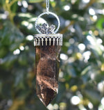 Smoky Quartz with Rainbow Moonstone and Succulent Spray Talisman Necklace