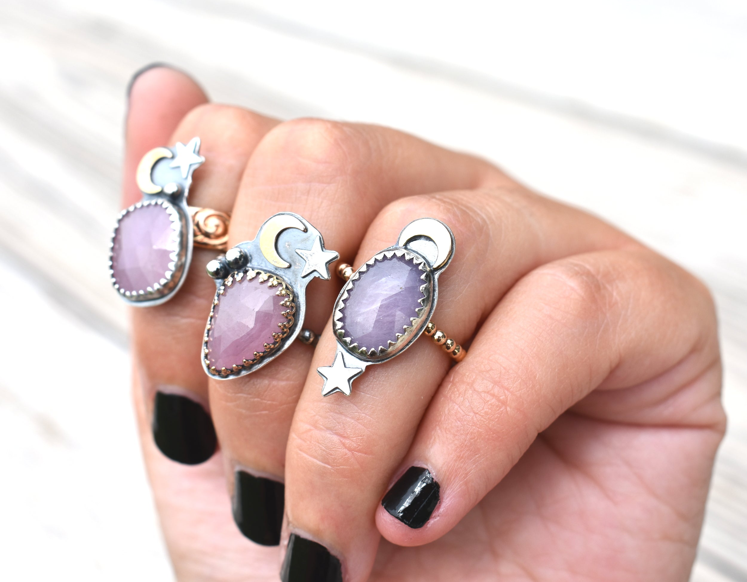 Moon Daughter Pink Sapphire Talisman Ring #2-US size 6