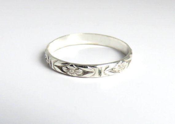 Floral Festival Style Boho Stacking Ring
