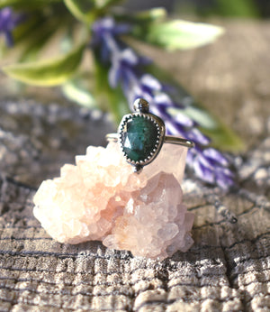 Boho Emerald Ring #3-Size 7.5