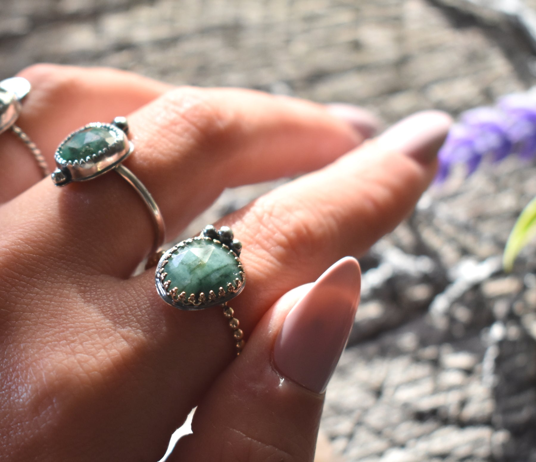 Boho Emerald Ring #2-Size 8