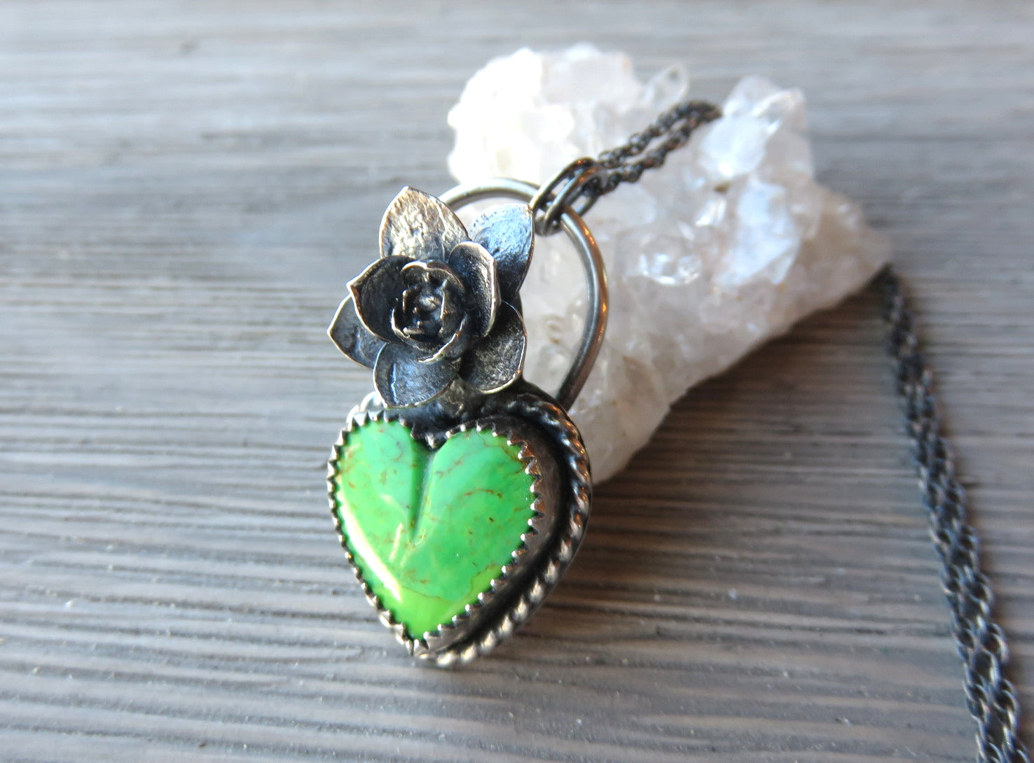 Heart Chakra Mojave Green Turquoise and Echeveria Succulent Pendant