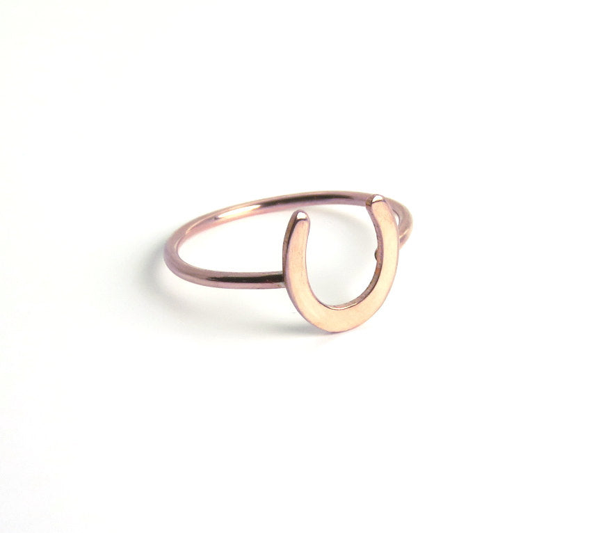 Rose gold ring, Horseshoe ring, lucky ring, goodluck ring, horse shoe, stacking ring, rosegold, Luck ring, equestrian ring, midi ring