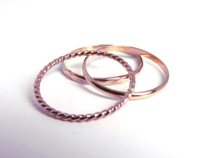 Rose gold rings, stacking rings, rose gold stack, stackable rings, pink gold rings, rose gold stacking rings, rose gold set, stack rings