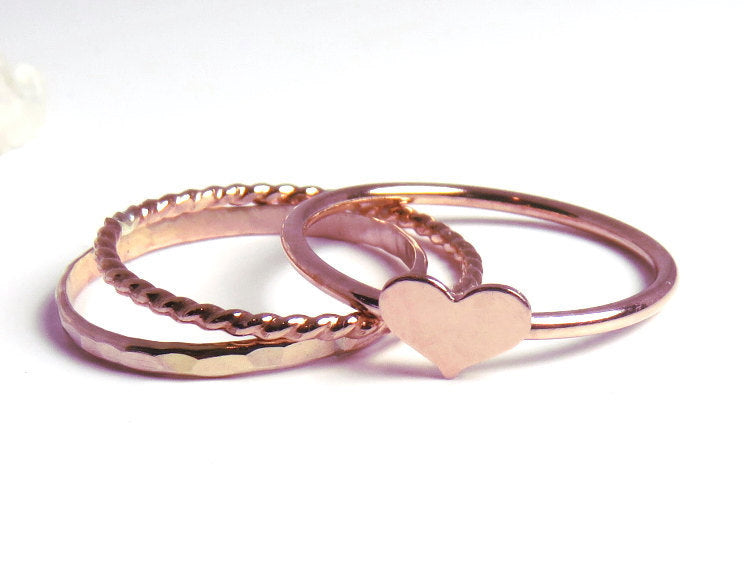 Heart rings, rose gold rings, rose gold heart rings, rose gold stacking rings, love rings, pink gold heart, gift for her, rose gold stack