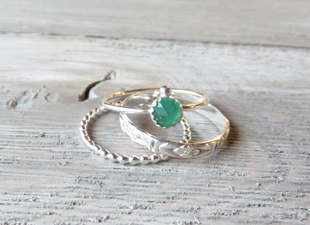 Emerald ring, May birthstone, May rings, emerald jewelry, natural emerald, boho rings, greenery, silver stacking rings, boho stack, gemini