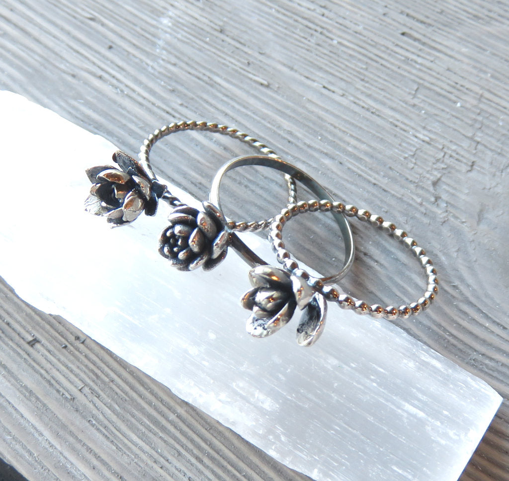 Succulent ring, Echeveria, Silver rings, Silver stacking rings, nature jewelry, plant earrings, wedding jewelry, plant love, plant style