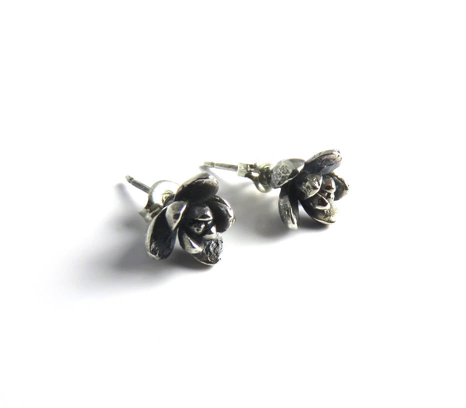 Succulent studs, Succulent earrings, Echeveria, Silver studs, Silver stud earrings, nature jewelry, plant earrings, wedding studs, plants