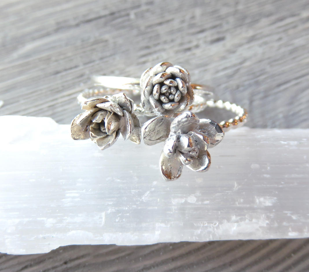 Succulent rings, Silver rings, Silver stacking rings, nature jewelry, succulent jewelry, wedding jewelry, Hens and chicks, echeveria