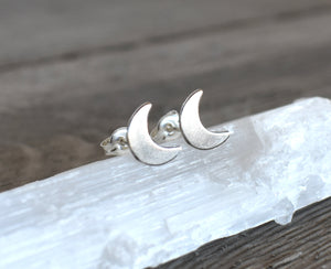 Moon studs, Moon posts, Crescent Moon studs, Crescent Moon Posts, Silver Moon Stud Earrings, 925 sterling posts, Moon earrings, moon phase