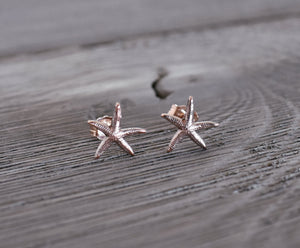 Starfish Studs, Starfish Earrings, silver starfish, sterling starfish earrings, sterling studs, silver studs, mermaid studs, mermaid earring