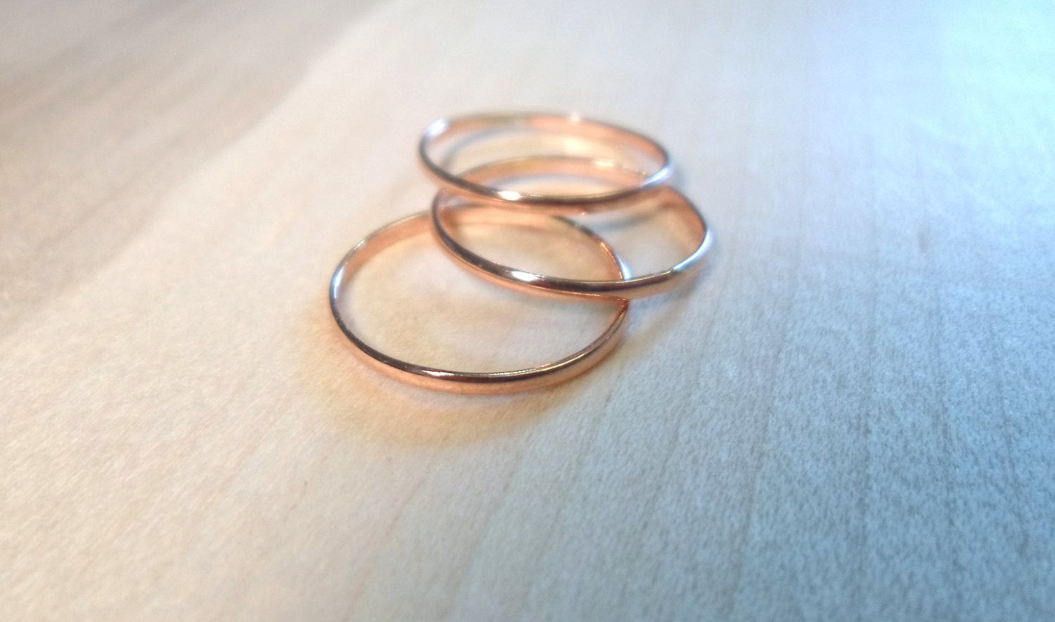 Rose gold rings, stacking ring set, Set of Three, rose gold stack set, midi rings, knuckle rings, toe rings, rose gold stackers, rose gold