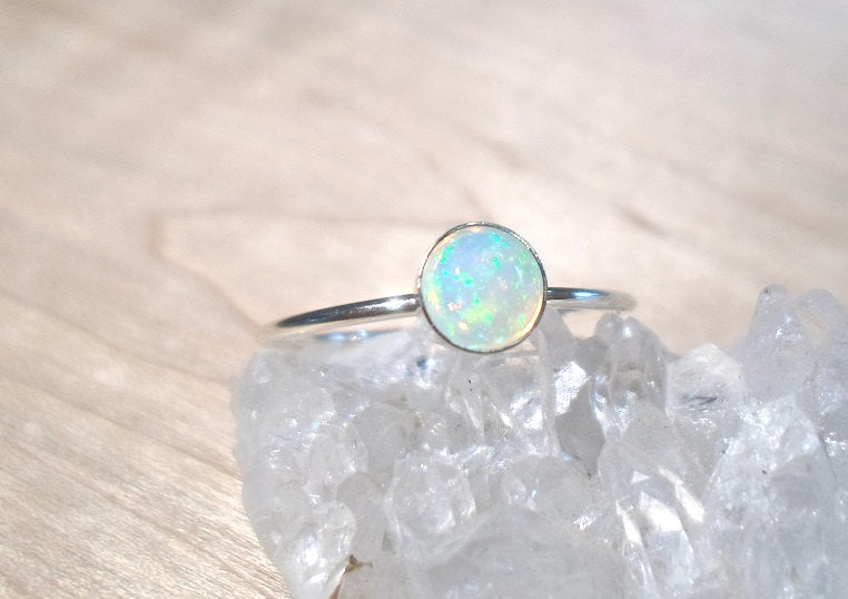 Opal Ring,  Fire Opal ring, Opal stacking ring, sterling silver opal ring, October ring, silver opal ring, boho style, festival style