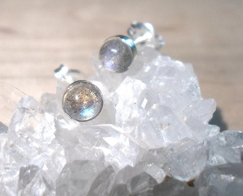 Labradorite Studs, Labradorite earrings, 925 Sterling Silver, Labradorite Posts, Midnight Moostone, Moon studs, Moon posts, silver studs
