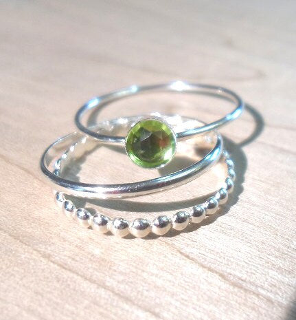 Peridot Ring, Peridot Stacking Set, Sterling silver peridot stacking rings,  gemstone stacking rings,  August Birthstone rings